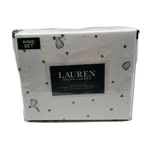 Lauren Ralph Lauren 4 PC KING Sheet Set Honey Bee